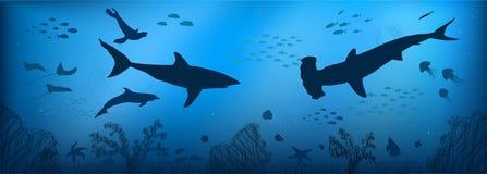 Υποβρύχιος κόσμος doodle Στοκ εικόνα με δικαίωμα ελεύθερης χρήσης