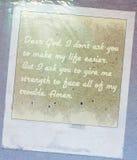 Υποβρύχιος τρύγος καρτών Θεών προσευχής αγαπητός grunge Στοκ Φωτογραφία