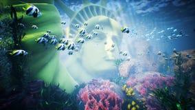 Υποβρύχιος ωκεάνιος κυματισμός κυμάτων με τα τροπικά ψάρια και το άγαλμα της ελευθερίας περιτυλιγμένος απεικόνιση αποθεμάτων