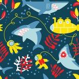 Υποβρύχιο άνευ ραφής σχέδιο περιπέτειας με τους καρχαρίες, υποβρύχιο και Στοκ Εικόνα