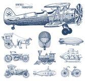 Υποβρύχιο, βάρκα και αυτοκίνητο, μοτοσικλέτα, Horse-drawn μεταφορά αεροσκάφος ή dirigible, μπαλόνι αέρα, αεροπλάνα corncob Στοκ εικόνα με δικαίωμα ελεύθερης χρήσης