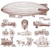 Υποβρύχιο, βάρκα και αυτοκίνητο, μοτοσικλέτα, Horse-drawn μεταφορά αεροσκάφος ή dirigible, μπαλόνι αέρα, αεροπλάνα corncob Στοκ φωτογραφίες με δικαίωμα ελεύθερης χρήσης
