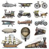 Υποβρύχιο, βάρκα και αυτοκίνητο, μοτοσικλέτα, Horse-drawn μεταφορά αεροσκάφος ή dirigible, μπαλόνι αέρα, αεροπλάνα corncob Στοκ φωτογραφία με δικαίωμα ελεύθερης χρήσης