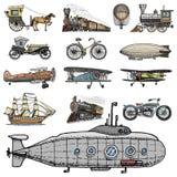 Υποβρύχιο, βάρκα και αυτοκίνητο, μοτοσικλέτα, Horse-drawn μεταφορά αεροσκάφος ή dirigible, μπαλόνι αέρα, αεροπλάνα corncob Στοκ Φωτογραφία