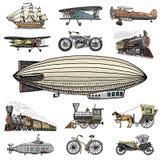 Υποβρύχιο, βάρκα και αυτοκίνητο, μοτοσικλέτα, Horse-drawn μεταφορά αεροσκάφος ή dirigible, μπαλόνι αέρα, αεροπλάνα corncob Στοκ εικόνες με δικαίωμα ελεύθερης χρήσης