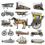 Υποβρύχιο, βάρκα και αυτοκίνητο, μοτοσικλέτα, Horse-drawn μεταφορά αεροσκάφος ή dirigible, μπαλόνι αέρα, αεροπλάνα corncob Στοκ Εικόνα