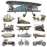 Υποβρύχιο, βάρκα και αυτοκίνητο, μοτοσικλέτα, Horse-drawn μεταφορά αεροσκάφος ή dirigible, μπαλόνι αέρα, αεροπλάνα corncob Στοκ Φωτογραφίες