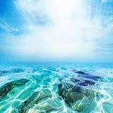 Υποβρύχιο υπόβαθρο παραλιών θάλασσας/μπλε κύματα και μπλε ουρανός Στοκ εικόνα με δικαίωμα ελεύθερης χρήσης