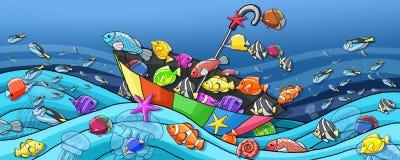 Υποβρύχιο χρώμα βαρκών ομπρελών παγκόσμιας διασκέδασης ελεύθερη απεικόνιση δικαιώματος