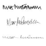 Υπογραφή ανώτατο Mustermann, χειρόγραφο σύνολο καλλιγραφίας διαφορετικών μορφών και μανδρών Στοκ Εικόνες