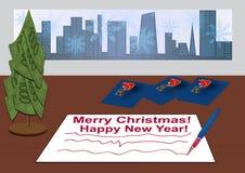 Υπογραφή των καρτών Χριστουγέννων Στοκ Φωτογραφία