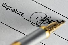 υπογραφή Στοκ φωτογραφίες με δικαίωμα ελεύθερης χρήσης