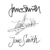 Υπογραφή Jane Smith, χειρόγραφο σύνολο καλλιγραφίας διαφορετικών μορφών και μανδρών Διανυσματική απεικόνιση
