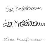 Υπογραφή Lisa Mustermann, χειρόγραφο σύνολο καλλιγραφίας διαφορετικών μορφών και μανδρών Απεικόνιση αποθεμάτων