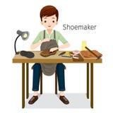 Υποδηματοποιός που επισκευάζει τα παπούτσια ατόμων, αυτός που ράβει στο παπούτσι Στοκ Εικόνες