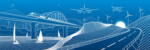 Υποδομή πόλεων βιομηχανική και πανόραμα απεικόνισης μεταφορών Ταξίδια τραίνων κατά μήκος της γέφυρας σιδηροδρόμων πέρα από τον πο διανυσματική απεικόνιση
