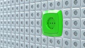 Υποδοχές βουλωμάτων δύναμης τοίχων με τη μεγάλη πράσινη υποδοχή δύναμης εναλλασσόμενου ρεύματος Στοκ φωτογραφίες με δικαίωμα ελεύθερης χρήσης