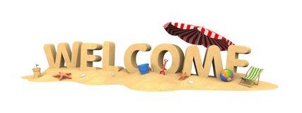 Υποδοχή - λέξη από την άμμο απεικόνιση αποθεμάτων