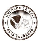 Υποδοχή στην κόλαση Λέσχη σκοταδιού Γραμματόσημο με ένα κρανίο στο headph απεικόνιση αποθεμάτων