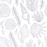 Υποθαλάσσιο παγκόσμιο άνευ ραφής σχέδιο, θαλάσσιο θέμα, φύκι και συρμένη χέρι διανυσματική απεικόνιση θαλασσινών κοχυλιών ελεύθερη απεικόνιση δικαιώματος