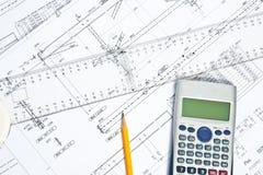 Υπολογισμοί και σχέδια μηχανικών Στοκ Εικόνες