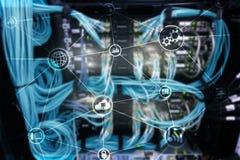 Υπολογισμός και επικοινωνία σύννεφων υποδομής τεχνολογίας μπλε έννοια Διαδίκτυο χρώματος ανασκόπησης στοκ φωτογραφία με δικαίωμα ελεύθερης χρήσης
