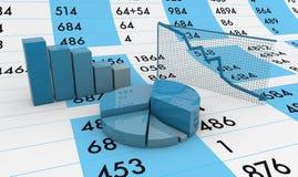 Υπολογισμός με λογιστικό φύλλο (spreadsheet) και διαγράμματα Στοκ Εικόνα