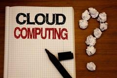 Υπολογισμός σύννεφων γραψίματος κειμένων γραφής Έννοια που σημαίνει το σε απευθείας σύνδεση πληροφοριών Μαύρο σημειωματάριων κειμ Στοκ Εικόνες