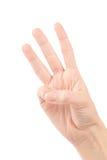 υπολογισμός των θηλυκών χεριών αριθμός τρία Στοκ Εικόνα