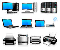 υπολογιστές που υπολογίζουν την τεχνολογία εκτυπωτών Στοκ φωτογραφία με δικαίωμα ελεύθερης χρήσης