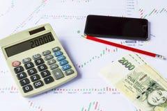 Υπολογιστής με τα πράσινα τσεχικά χρήματα στα οικονομικά διαγράμματα Στοκ φωτογραφίες με δικαίωμα ελεύθερης χρήσης