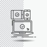 υπολογιστής, συσκευές, κινητός, απαντητικός, εικονίδιο γραμμών τεχνολογίας στο διαφανές υπόβαθρο Μαύρη διανυσματική απεικόνιση ει διανυσματική απεικόνιση