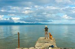 Υπομονή που παρουσιάζεται από το άτομο και το σκυλί που στέκονται στην παλαιά αποβάθρα στην εκβολή του Τ Στοκ Εικόνες