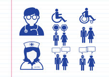 Υπομονετικό άρρωστο εικονόγραμμα συμβόλων σημαδιών εικονιδίων νοσοκόμων γιατρών Στοκ Φωτογραφία