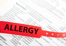 Υπομονετικό εμπορικό σήμα καρπών αλλεργίας κόκκινο Στοκ εικόνα με δικαίωμα ελεύθερης χρήσης
