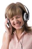 υποστήριξη γέλιου κοριτσιών πελατών Στοκ εικόνα με δικαίωμα ελεύθερης χρήσης