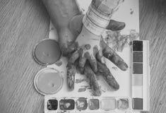 Υποστήριξη και προστασία Τέχνες και handprint ζωγραφική Στοκ Εικόνα
