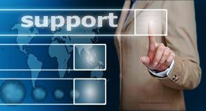 υποστήριξη πίεσης χεριών κουμπιών Στοκ εικόνες με δικαίωμα ελεύθερης χρήσης