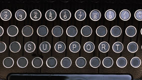 Υποστήριξη, Word στα εκλεκτής ποιότητας κλειδιά επιστολών συγγραφέων τύπων Στοκ εικόνα με δικαίωμα ελεύθερης χρήσης