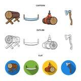 Υποστηρίξεις σύνδεσης, πριόνι δύο-χεριών, τσεκούρι, που αυξάνουν τα κούτσουρα Καθορισμένα εικονίδια συλλογής πριονιστηρίων και ξυ Στοκ Εικόνα