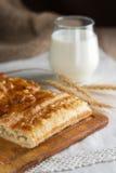 Υποστηριγμένα πίτα και ποτήρι του γάλακτος Στοκ φωτογραφίες με δικαίωμα ελεύθερης χρήσης
