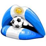 Υποστηρικτές ποδοσφαίρου κραγιόν σημαιών της Αργεντινής Στοκ φωτογραφίες με δικαίωμα ελεύθερης χρήσης
