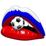 Υποστηρικτές ποδοσφαίρου κραγιόν σημαιών της Ρωσίας Στοκ Φωτογραφία