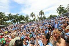 Υποστηρικτές της Αργεντινής στο Μαϊάμι Μπιτς Στοκ εικόνα με δικαίωμα ελεύθερης χρήσης