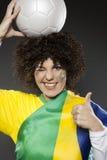 Υποστηρικτής Βραζιλία οπαδών αθλήματος ποδοσφαίρου Στοκ Εικόνα