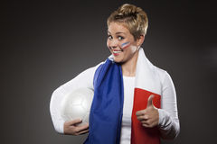 Υποστηρικτής Γαλλία οπαδών αθλήματος ποδοσφαίρου Στοκ Φωτογραφία