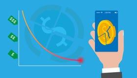 υποτίμηση Οι πτώσεις τιμών Χαμήλωμα του διαγράμματος στο κρίσιμο σημείο Η κατάρρευση των τίτλων Κινητό app διανυσματική απεικόνιση