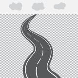 Υποχώρηση στην απόσταση ο δρόμος με τα άσπρα σημάδια Στοκ Εικόνα