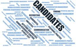 Υποψήφιοι - σύννεφο λέξης/wordcloud με τους όρους για την πρόσληψη απεικόνιση αποθεμάτων