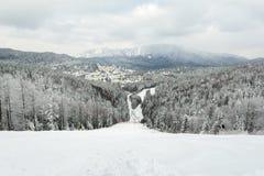 Υπο- κλίση σκι Teleferic στοκ εικόνες